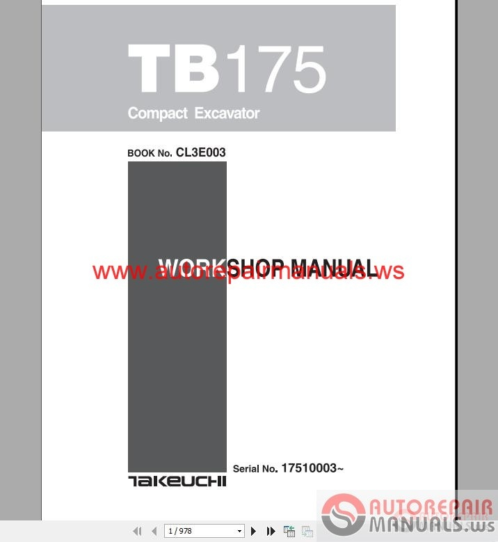 takeuchi compact excavator tb175  cl3e003 workshop manual