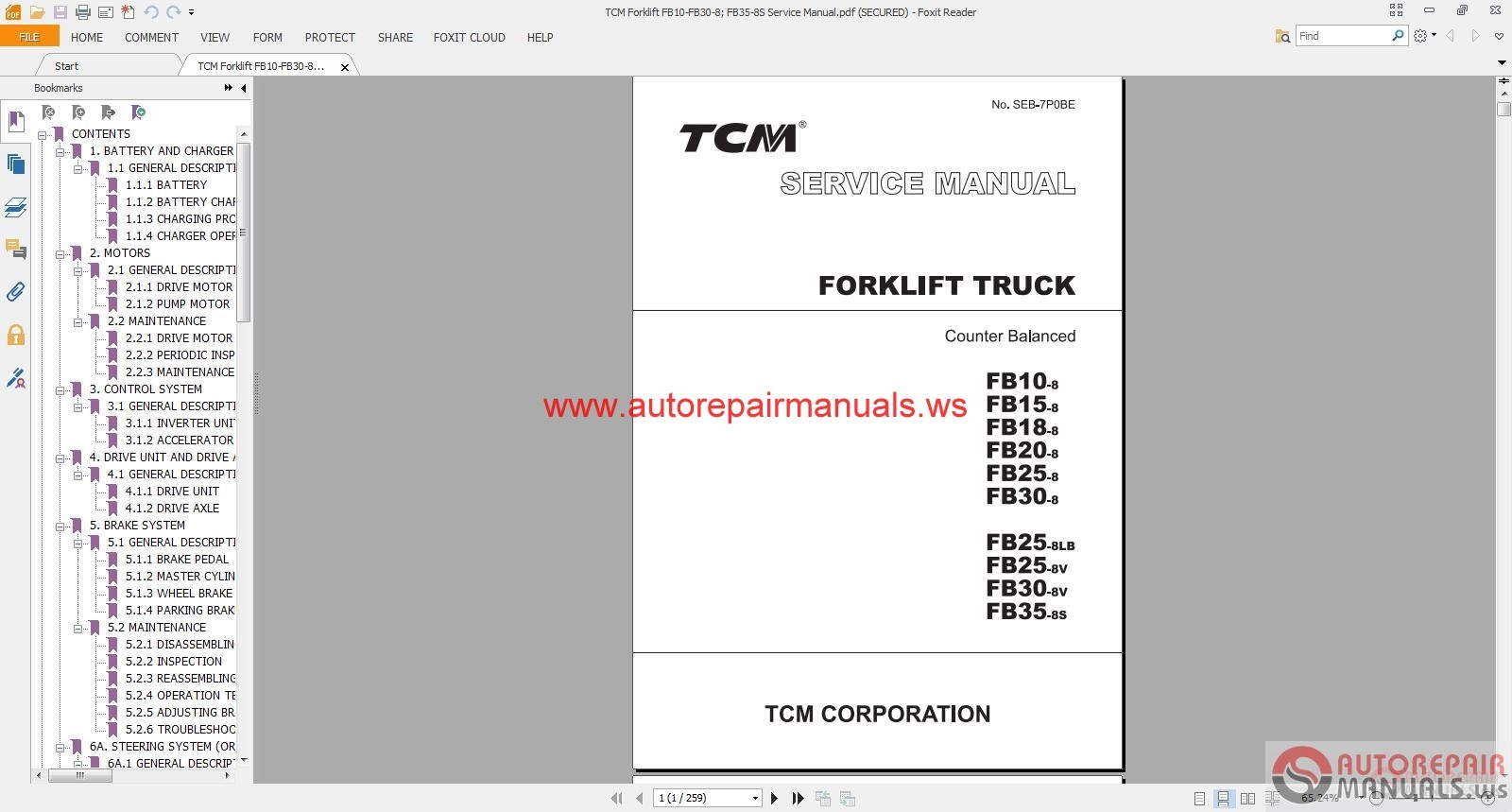 tcm forklift fb10 fb30 8 fb35 8s service manual auto repair rh autorepairmanuals ws tcm forklift alternator wiring diagram tcm electric forklift wiring diagram