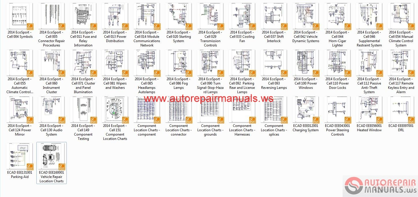 ford ecosport 2014 b515 wiring diagram auto repair manual forum component location charts splices ecad eee012001 charging system ecad eee043001 power steering controls ecad eee056001 heated window ecad eee097001 drl