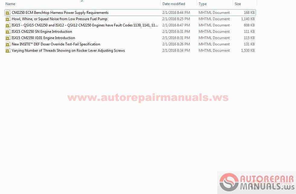 Cummins Technical Service Bulletin Number