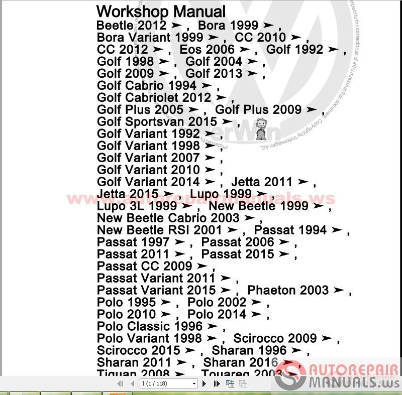 Vw Touran Service Repair Workshop Manual
