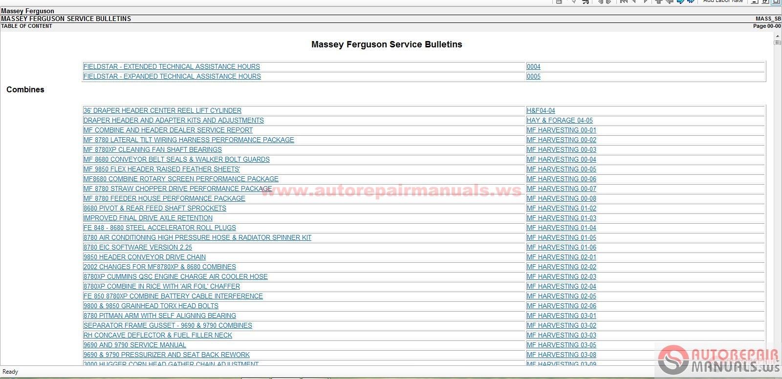 Massey Ferguson North America Service Manuals 03 2015