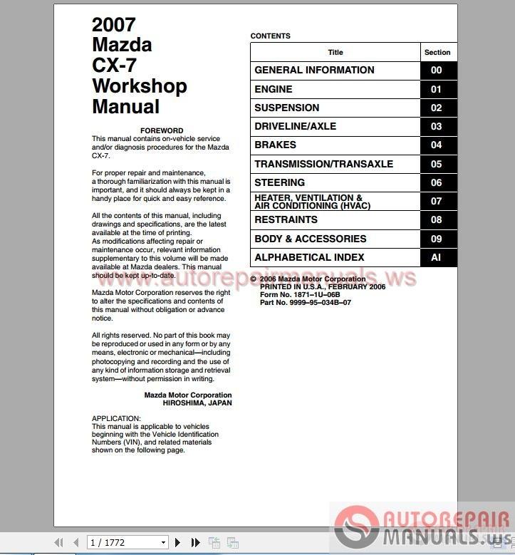 mazda cx7 2007 repair manuals