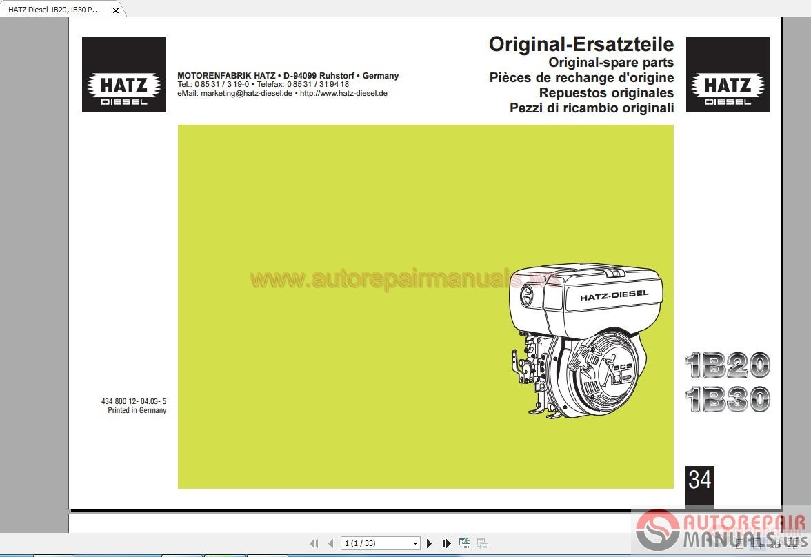 hatz diesel 1b20 1b30 parts manual auto repair manual forum rh  autorepairmanuals ws 1B30 Hatz Repair Manual Hatz Engine Small