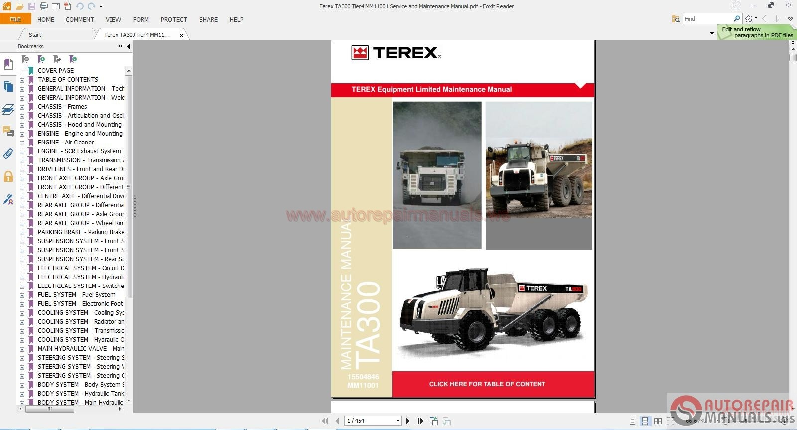 terex ta300 tier4 mm11001 service and maintenance manual. Black Bedroom Furniture Sets. Home Design Ideas