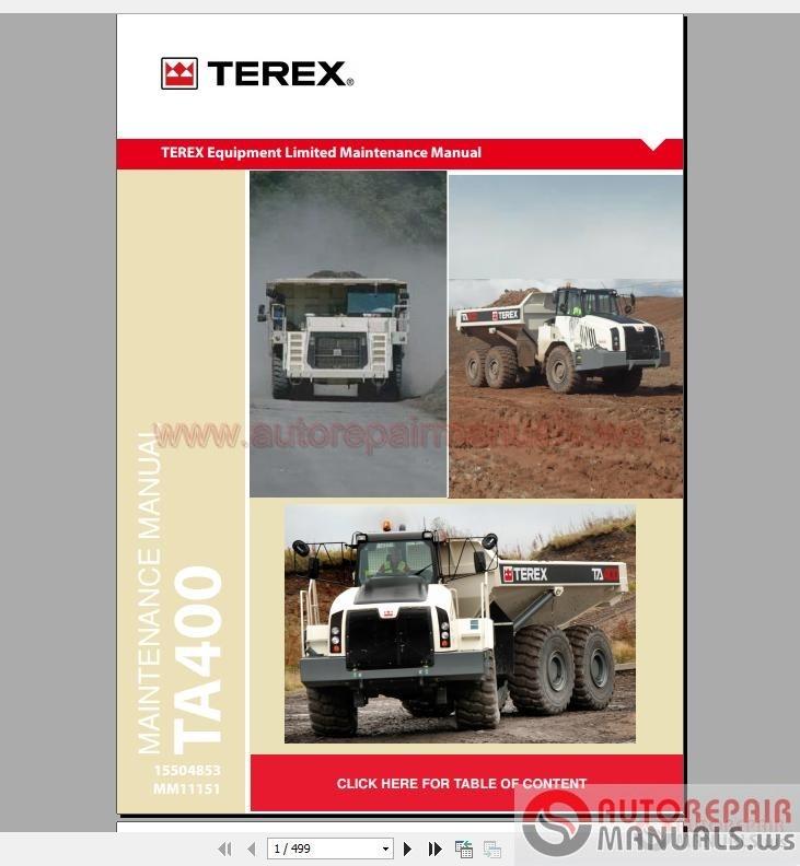 Terex Ta400 T4 Service Manual Mm11151 Auto Repair Manual Forum Heavy Equipment Forums Download Repair Workshop Manual