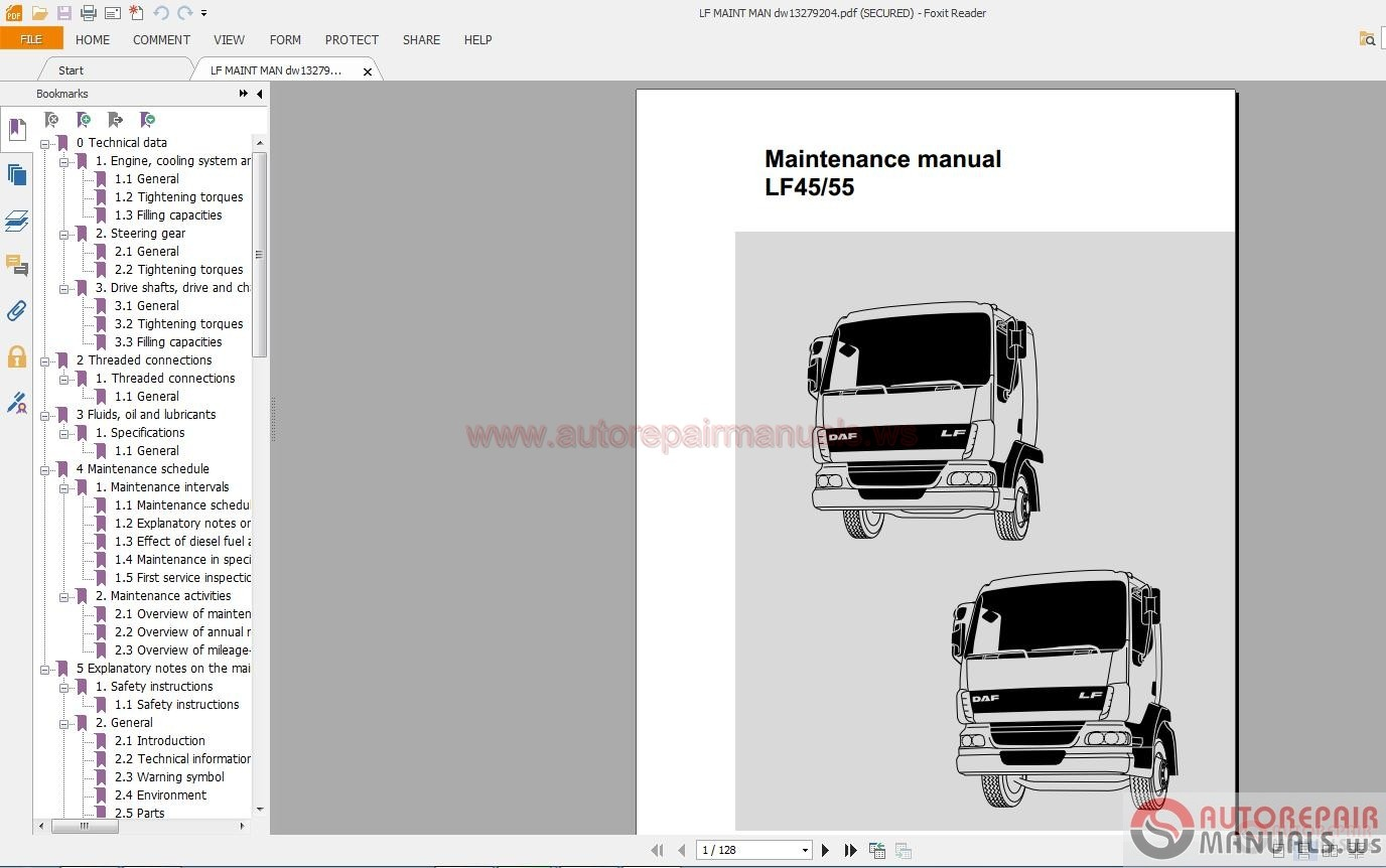 Daf Truck Lf Service Manuals