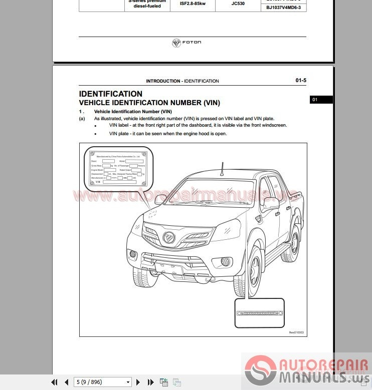 FOTON Tunland Service Manual all Cummins ISF 28   Auto
