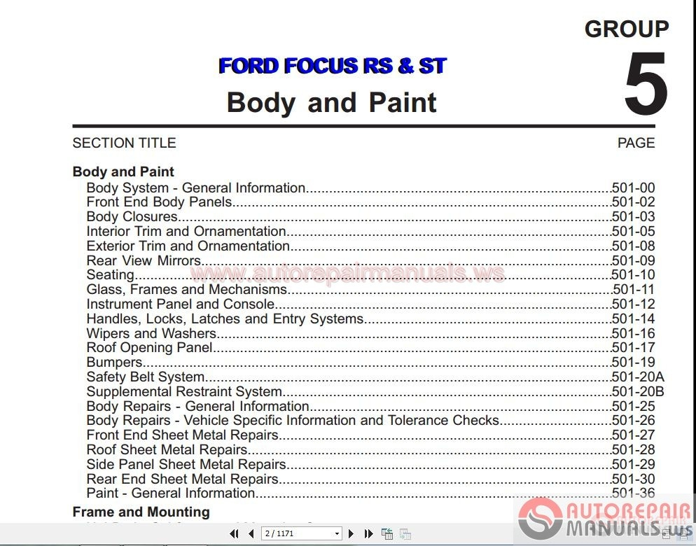 Ford Focus Rs - St 2011 Body And Paint Manual