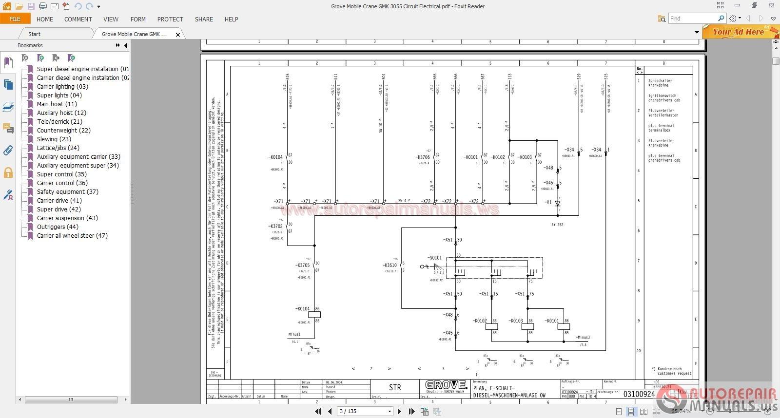 grove mobile crane gmk 3055 circuit electrical auto repair manual forum heavy equipment