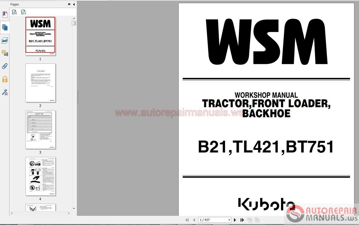 Kubota Full Set Workshop Manual Dvd Auto Repair Manual