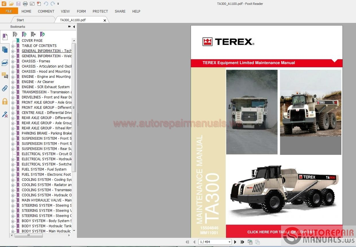 terex articulated truck ta300 service manual auto repair. Black Bedroom Furniture Sets. Home Design Ideas