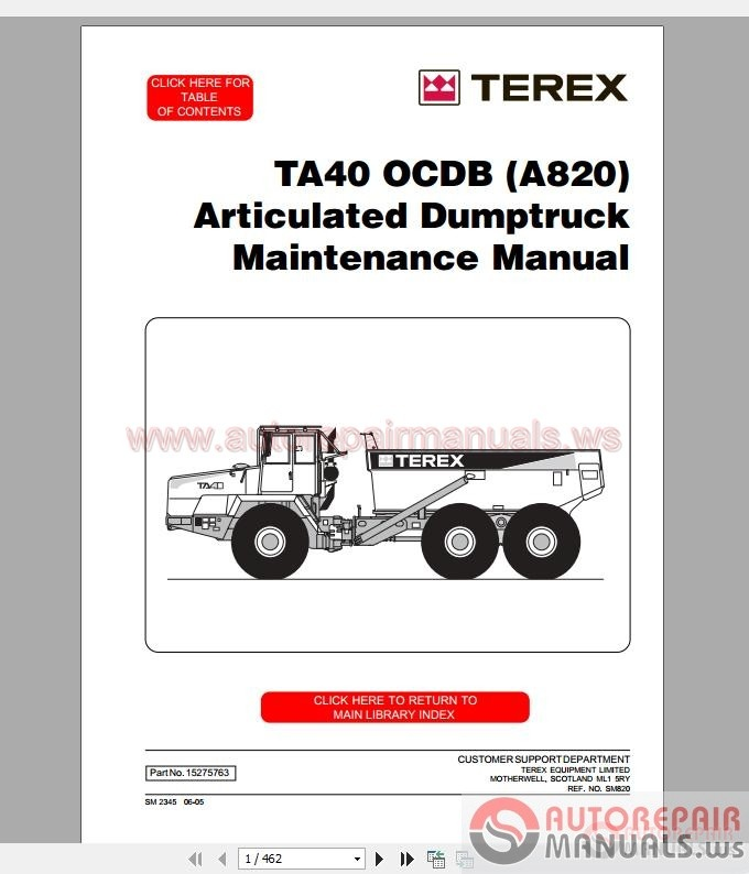 terex articulated truck ta40 service manual auto repair. Black Bedroom Furniture Sets. Home Design Ideas