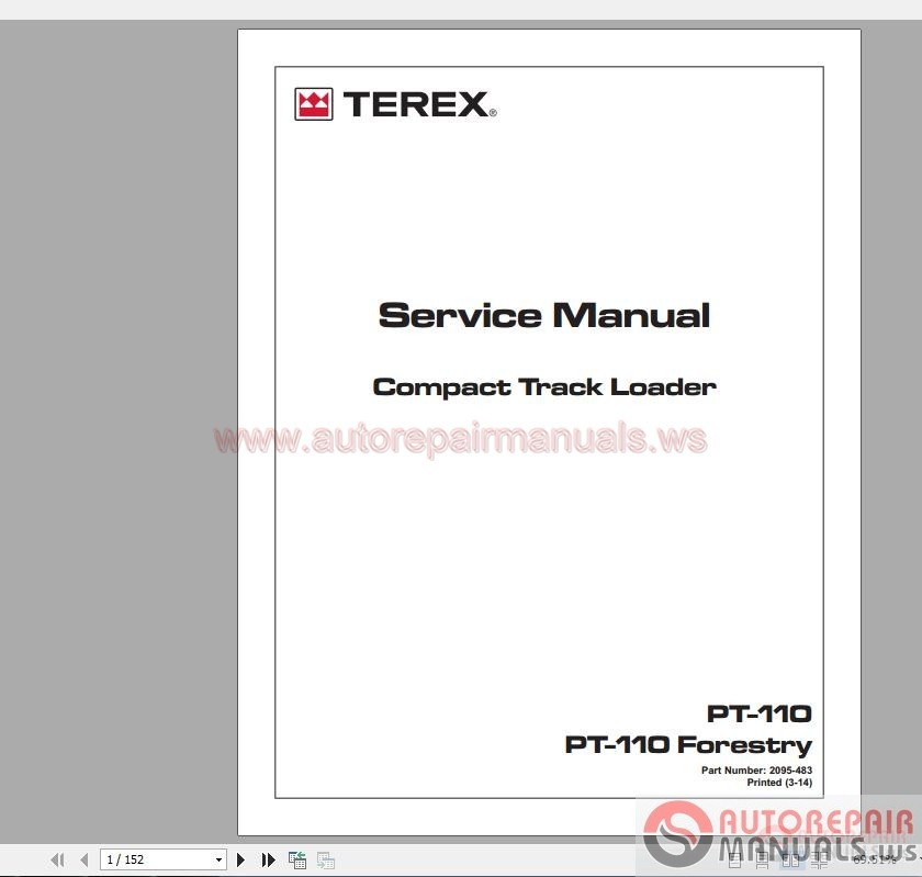 us terex compact tract loader pt 110 110f service manual. Black Bedroom Furniture Sets. Home Design Ideas
