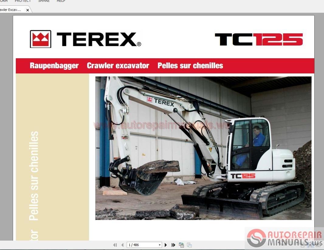 terex mini crawler excavators tc125 0313 parts catalog. Black Bedroom Furniture Sets. Home Design Ideas