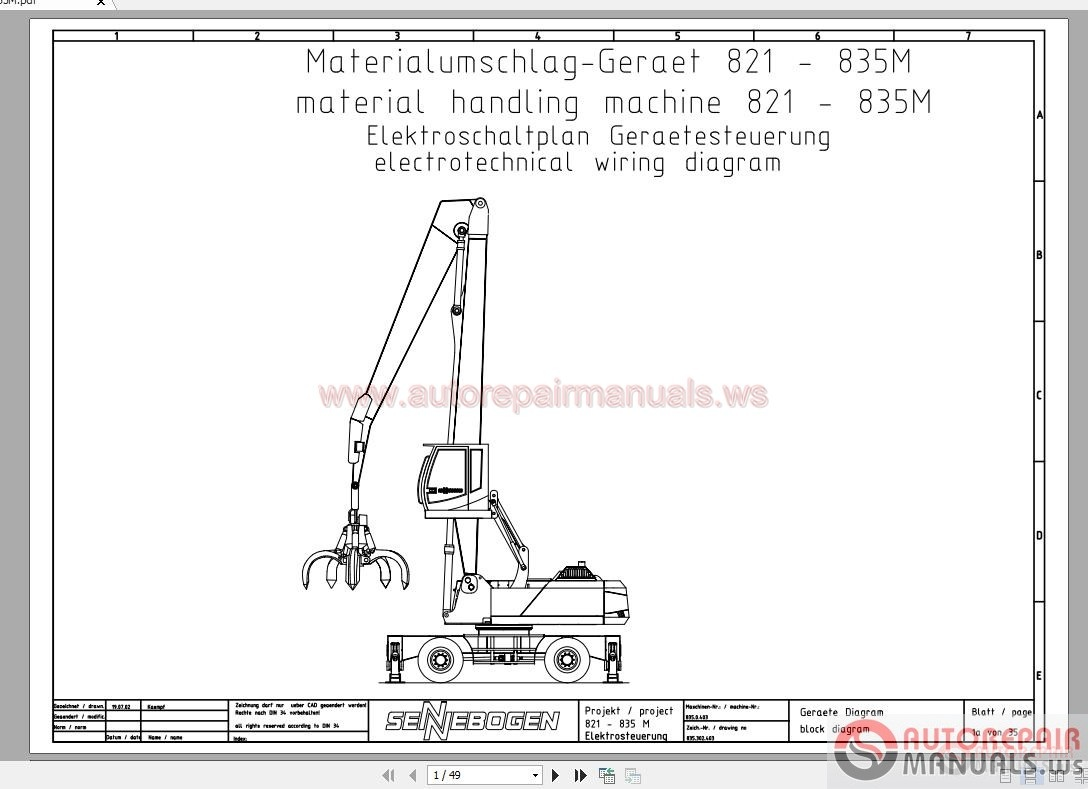 Sennebogen Operation Manual Part Manual Electrical And