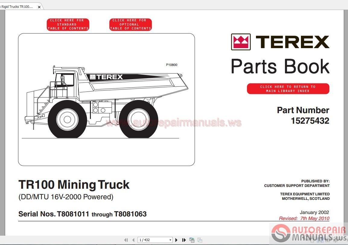 terex rigid trucks tr100 t808 part manual auto repair. Black Bedroom Furniture Sets. Home Design Ideas