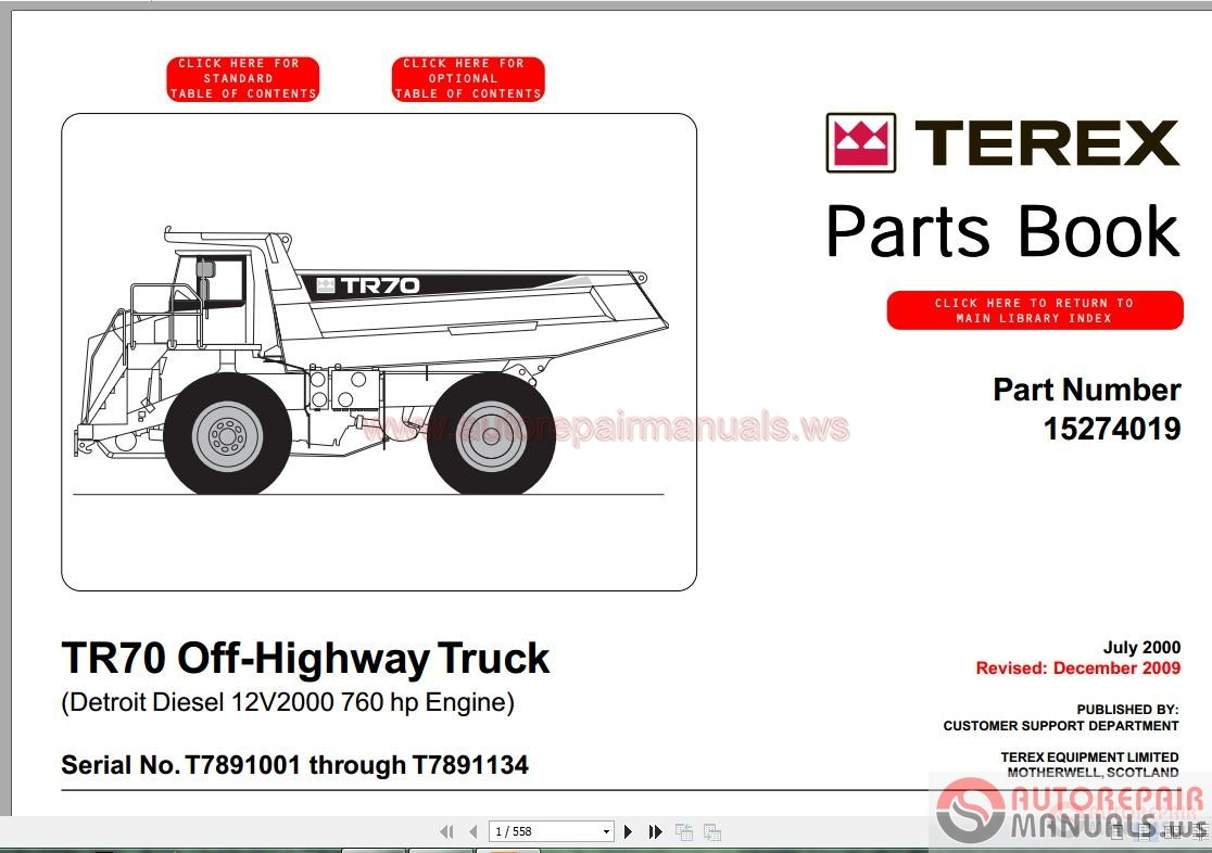 terex rigid trucks tr70 t789 part manual auto repair. Black Bedroom Furniture Sets. Home Design Ideas