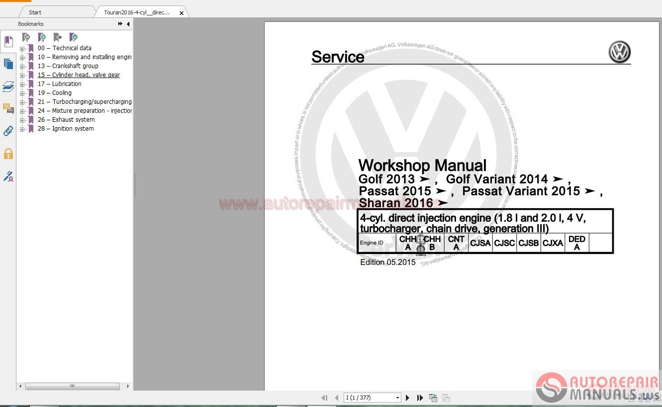Volkswagen Touran 2016 Workshop Manuals