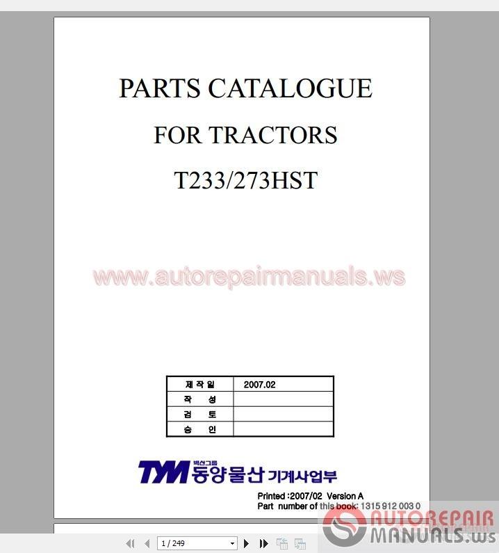 Tym Full Set Parts Manuals  U0026 Operator Manuals Dvd
