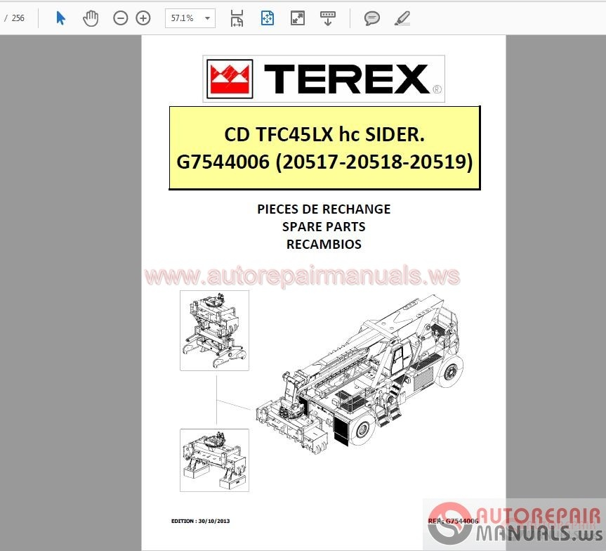 terex tfc45lx hc sider spare parts manual auto repair. Black Bedroom Furniture Sets. Home Design Ideas