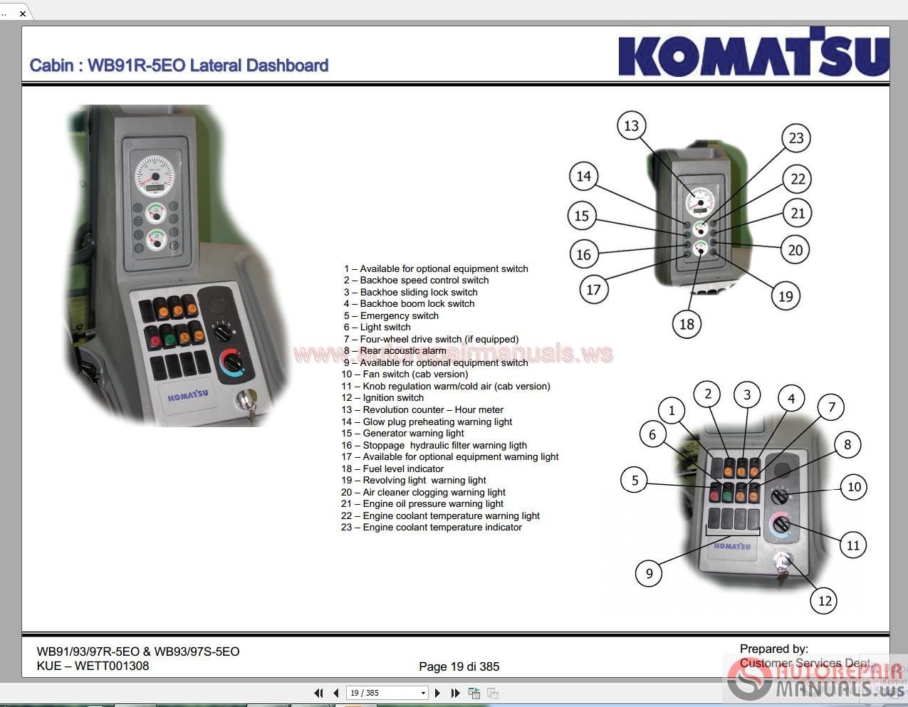 Komatsu Wb91 93 97r 5eo Amp Wb93 97s 5e0 Service Training