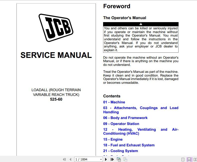 JCB Liftall Loadall 525-60 Service Manual | Auto Repair