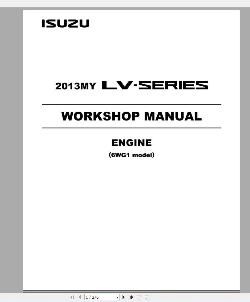 Isuzu Truck Engine Series Workshop Manual Dvd