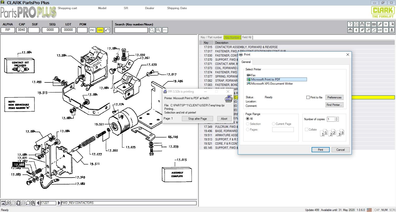 Clark Forklift Parts Pro Plus V499  03 2020