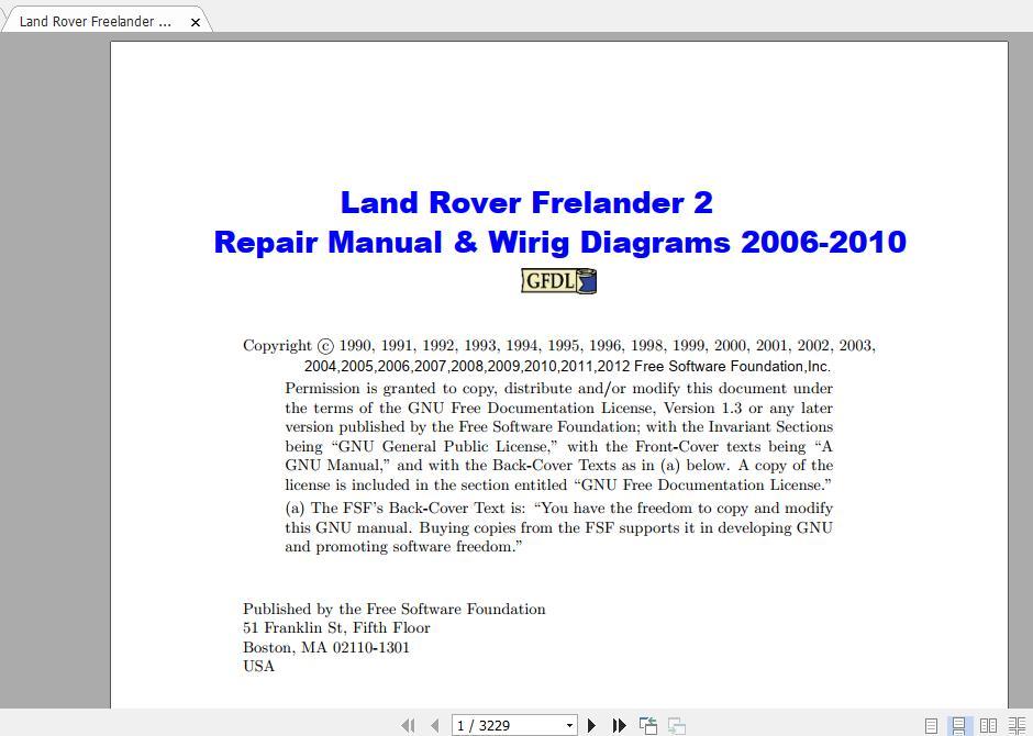 Land Rover Freelander II Repair Manual & Wiring Diagrams 2006-2010 | Auto  Repair Manual Forum - Heavy Equipment Forums - Download Repair & Workshop  ManualAuto Repair Manual Forum