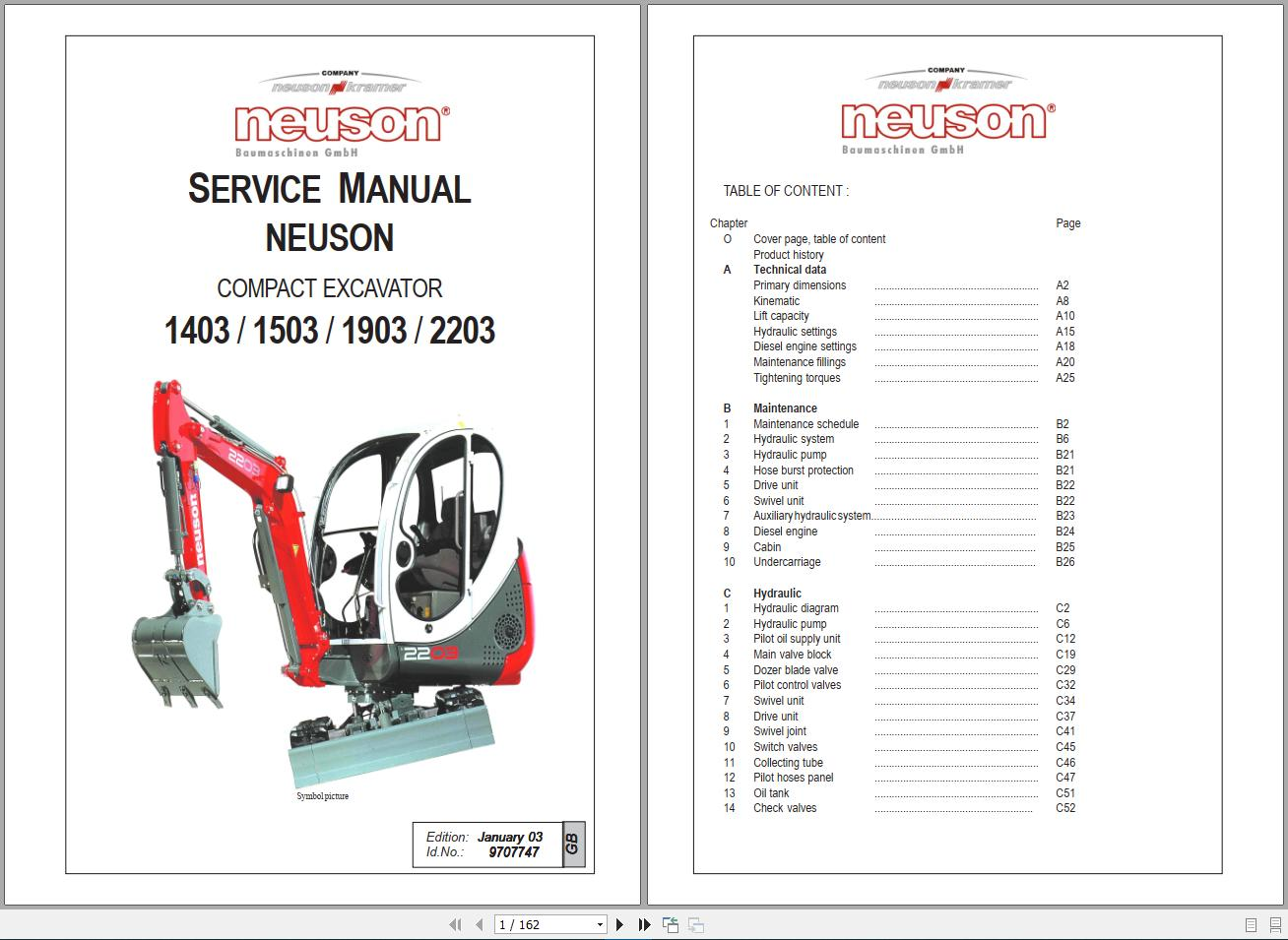 Neuson 1403    1503    1903    2203 Service Manual