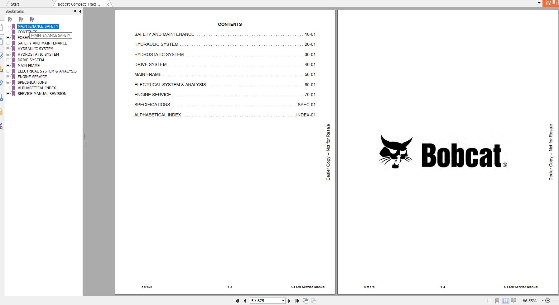 Bobcat Compact Tractor Ct120 Service Manual 6986523