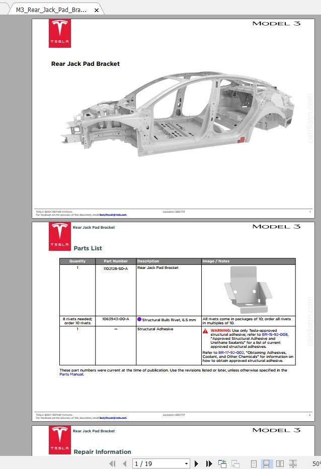 Tesla Model 3 2017-2020 Service Manuals & Wiring Diagrams ...