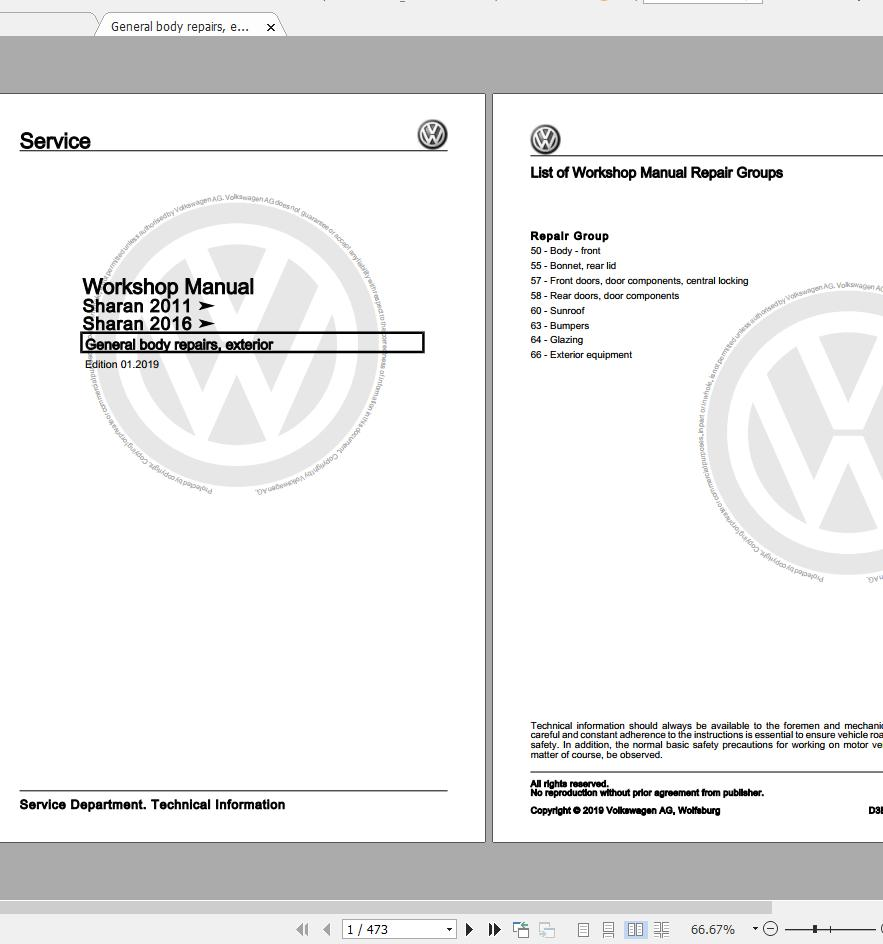 Volkswagen Sharan (7N,7N1,7N2) 2011-2020 Workshop Manuals & Wiring Diagrams  | Auto Repair Manual Forum - Heavy Equipment Forums - Download Repair &  Workshop ManualAutorepairmanuals.ws
