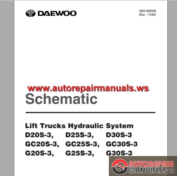Daewoo forklift G30s service Manual on