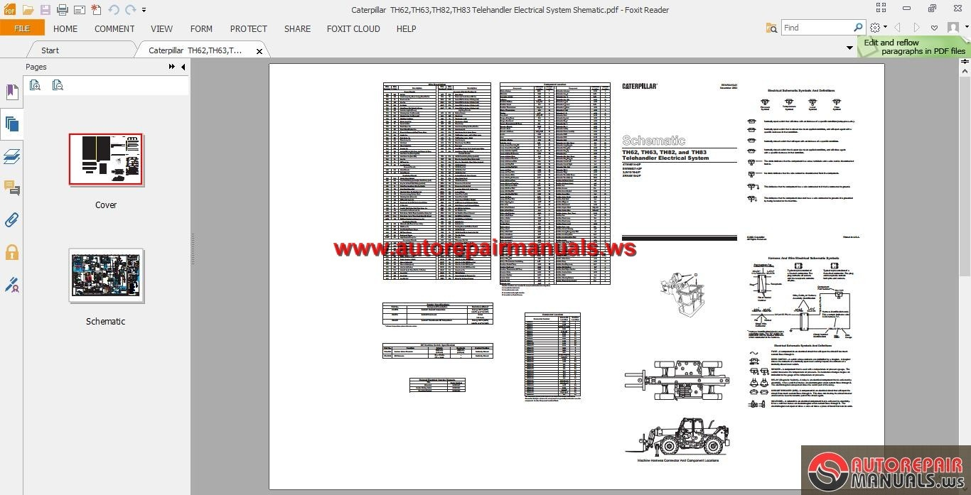 Cat th63 telehandler parts Manual