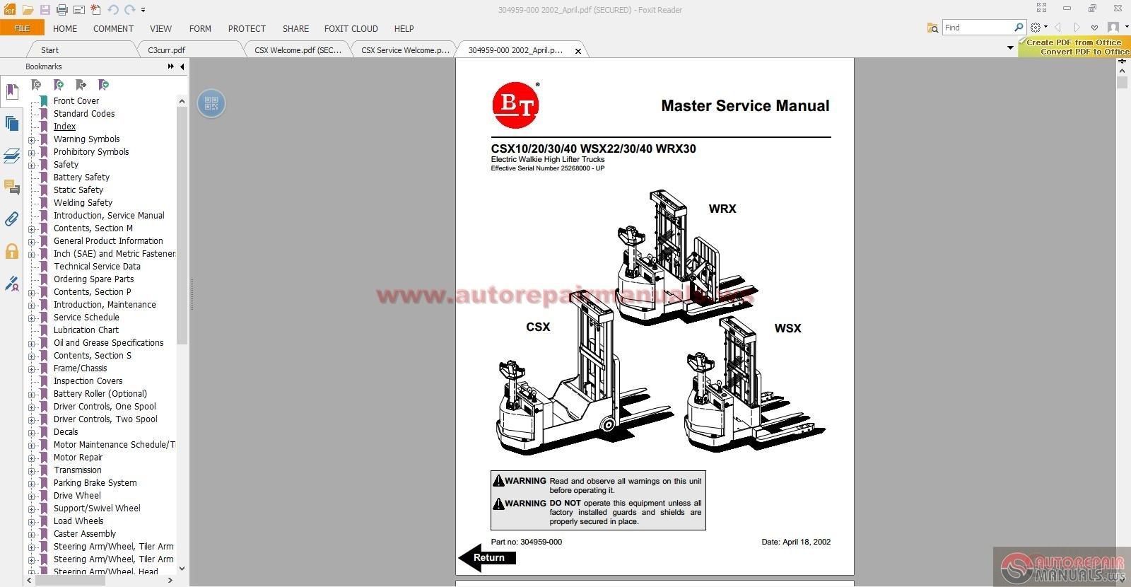 Bt Prime Mover Parts Manual