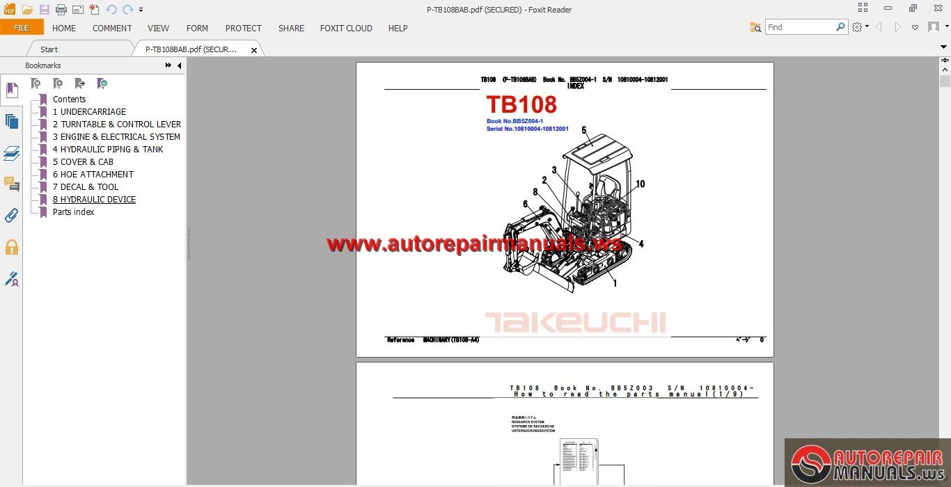 Takeuchi Tl130 Wiring Schematic 31 Diagram Images Excavator Tb108 Parts Manual Hitachi Excavators At
