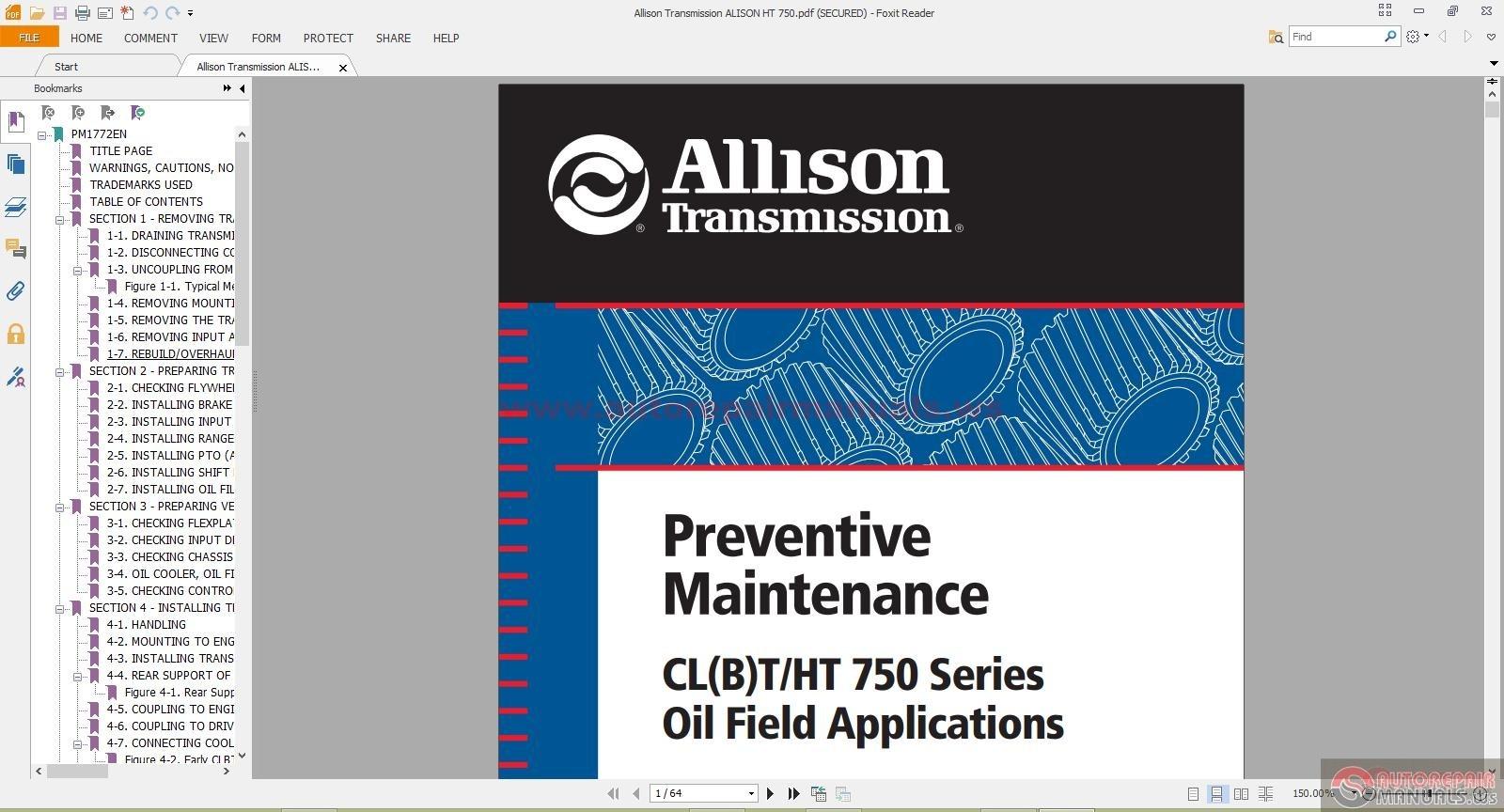 Allison Transmission manual Download Md3560