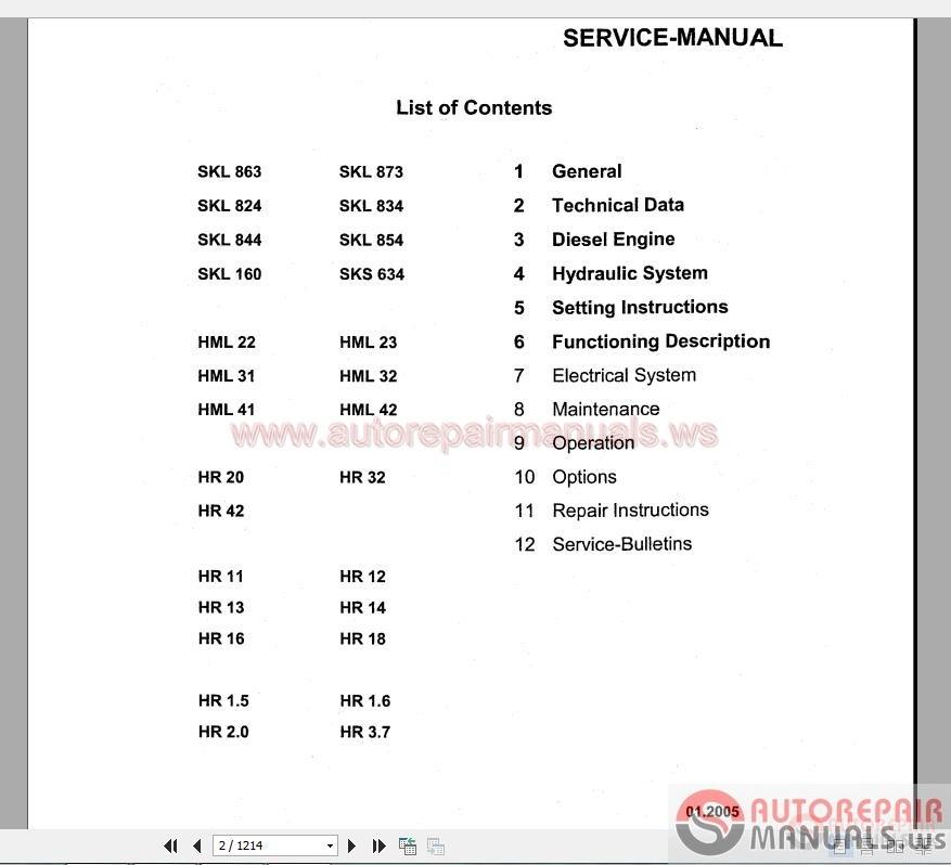Terex Hr 16 manual