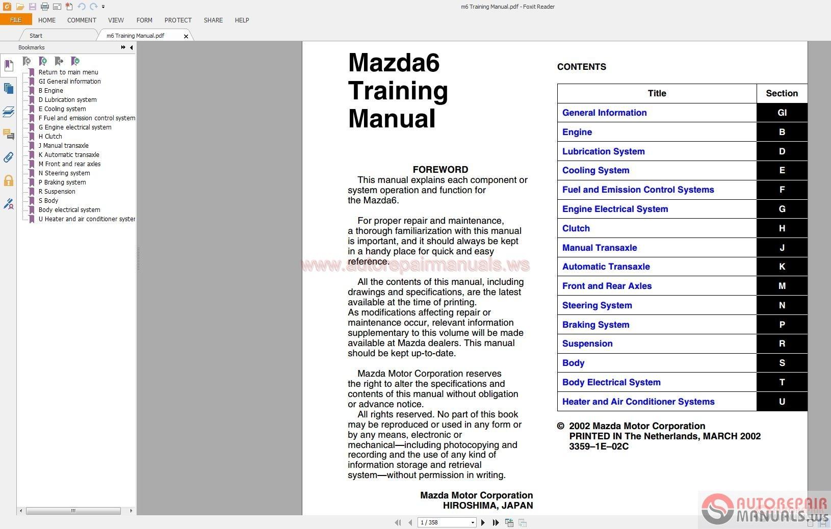 mazda6 gg gy gg1 2002 2007 service manuals auto repair
