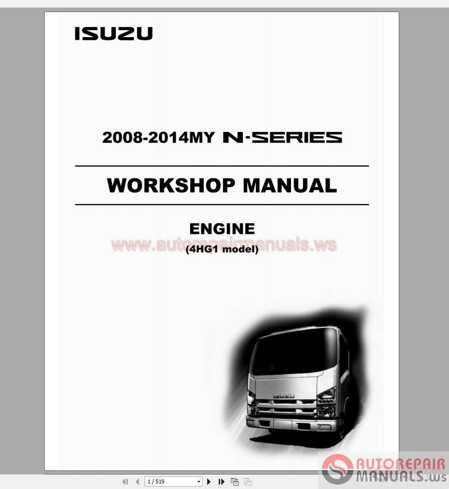 Isuzu 6bg1t Engine Manual Various Owner Guide 3lb1 Diagram 2008 2014my N Series Lg4hg We 0871 4hg1 Workshop Auto Repair Forum Heavy C240 Parts Rodeo