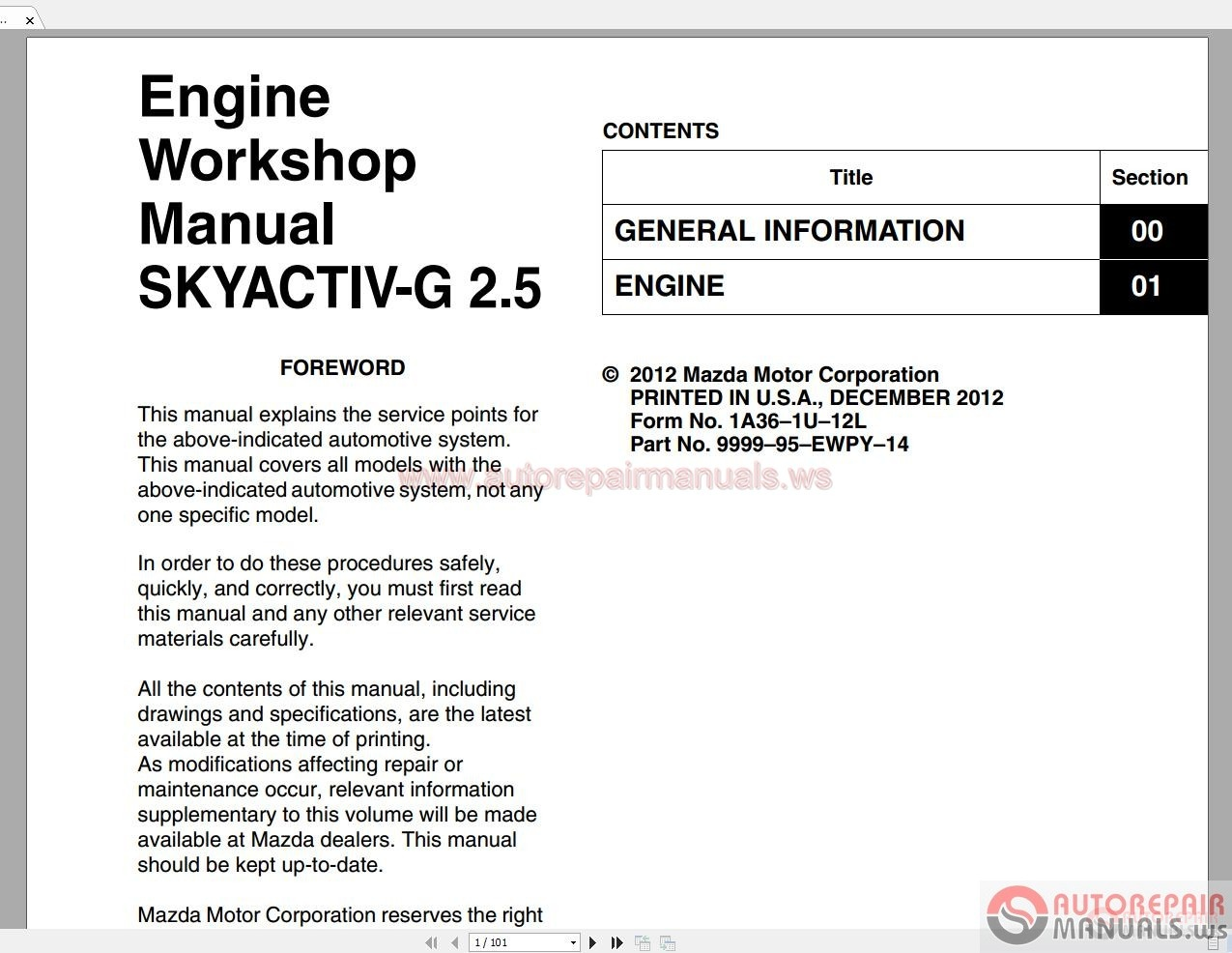 Mazda Engine Workshop Manual Skyactiv