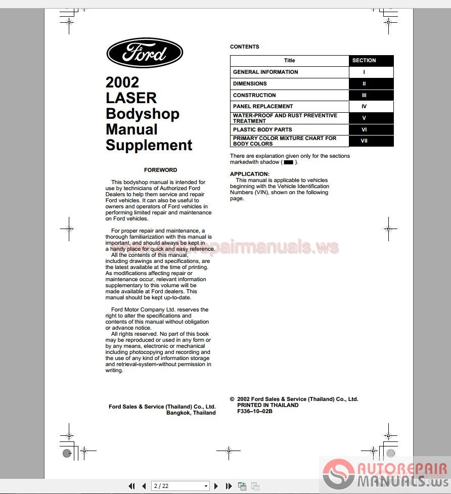 Ford Laser 2002 Workshop Manual