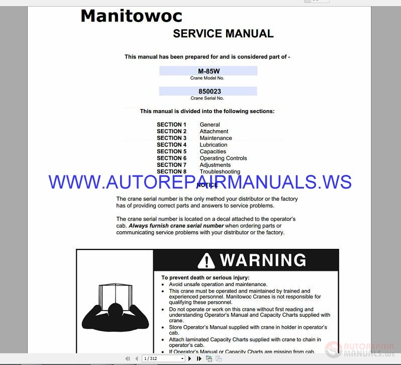 Manitowoc 11000 Crane Operators Manual