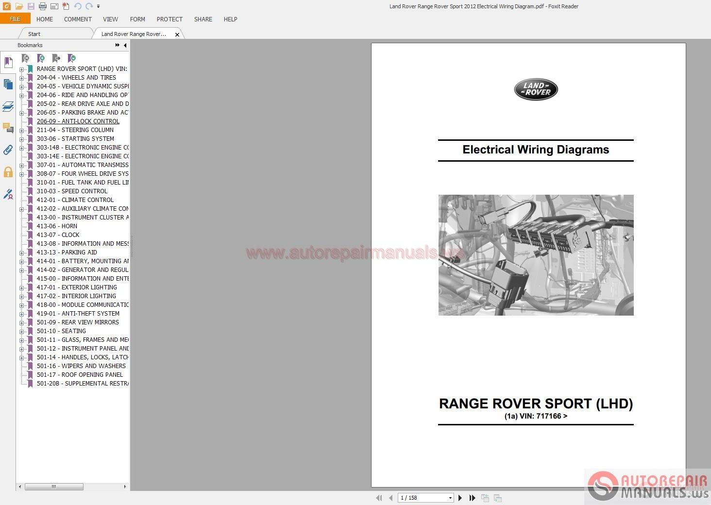 land rover range rover sport 2012 electrical wiring. Black Bedroom Furniture Sets. Home Design Ideas