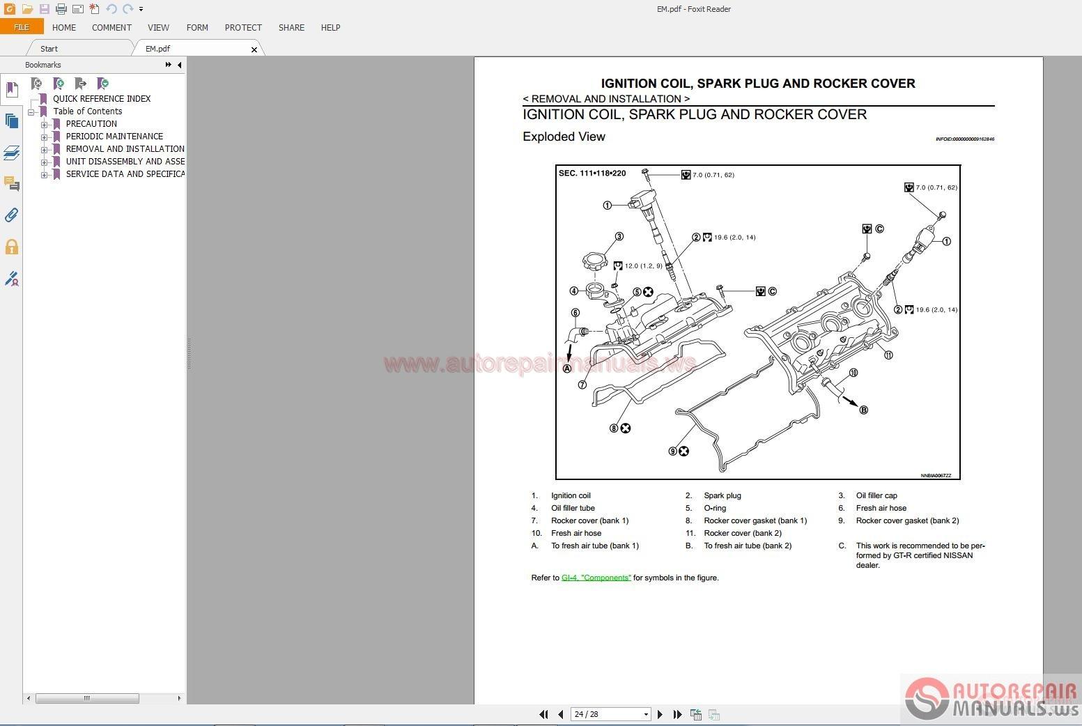 Nissan Gtr 2007 2014 Service Manual Auto Repair Manual border=