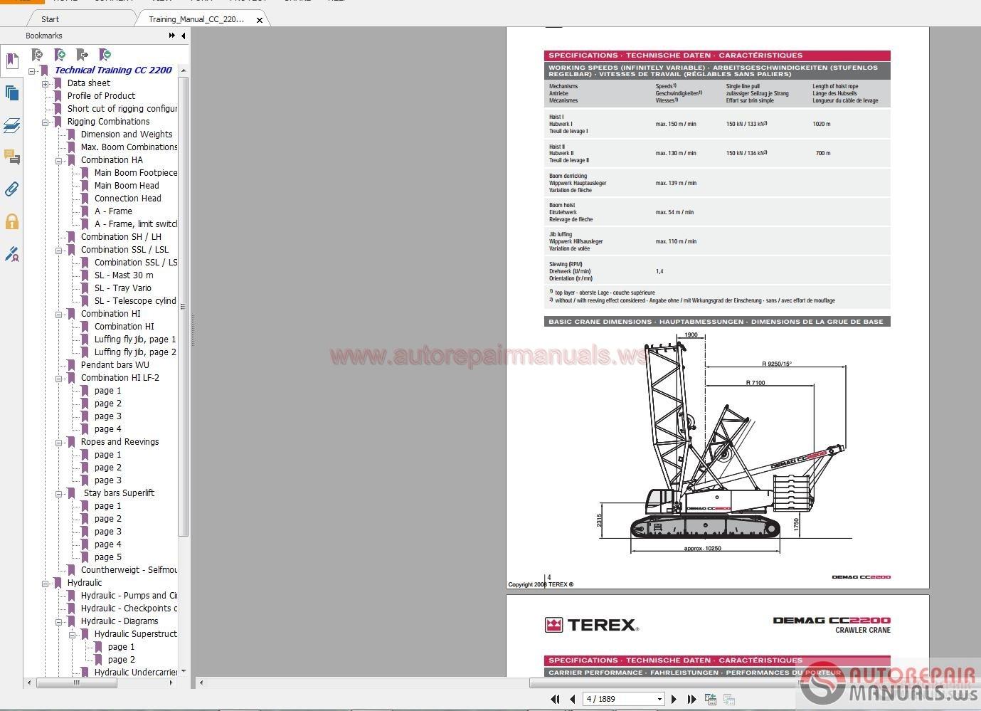 terex demag cc2200 350t training manual auto repair. Black Bedroom Furniture Sets. Home Design Ideas
