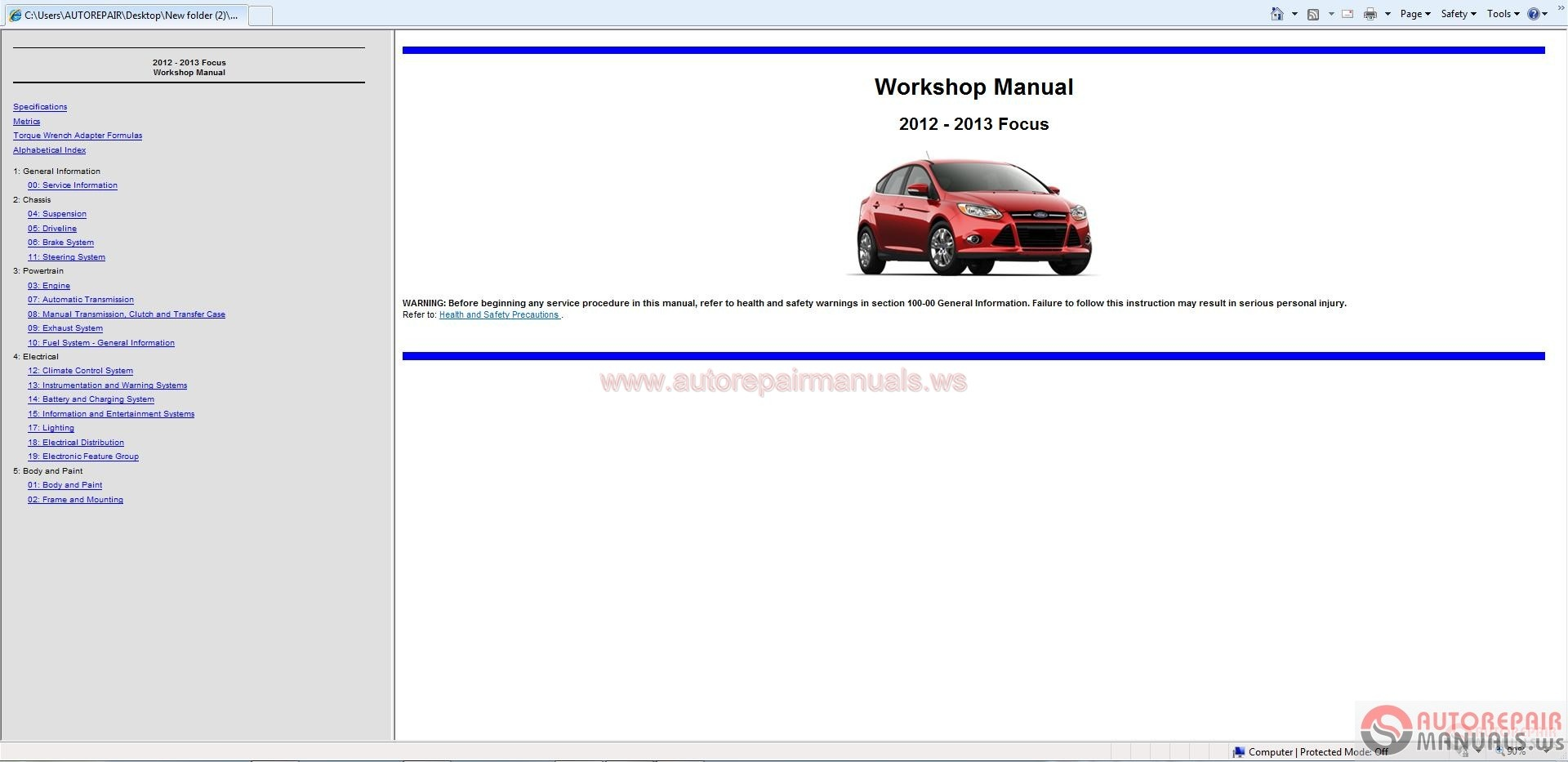 ford focus 2012 2013 workshop manual free auto repair. Black Bedroom Furniture Sets. Home Design Ideas