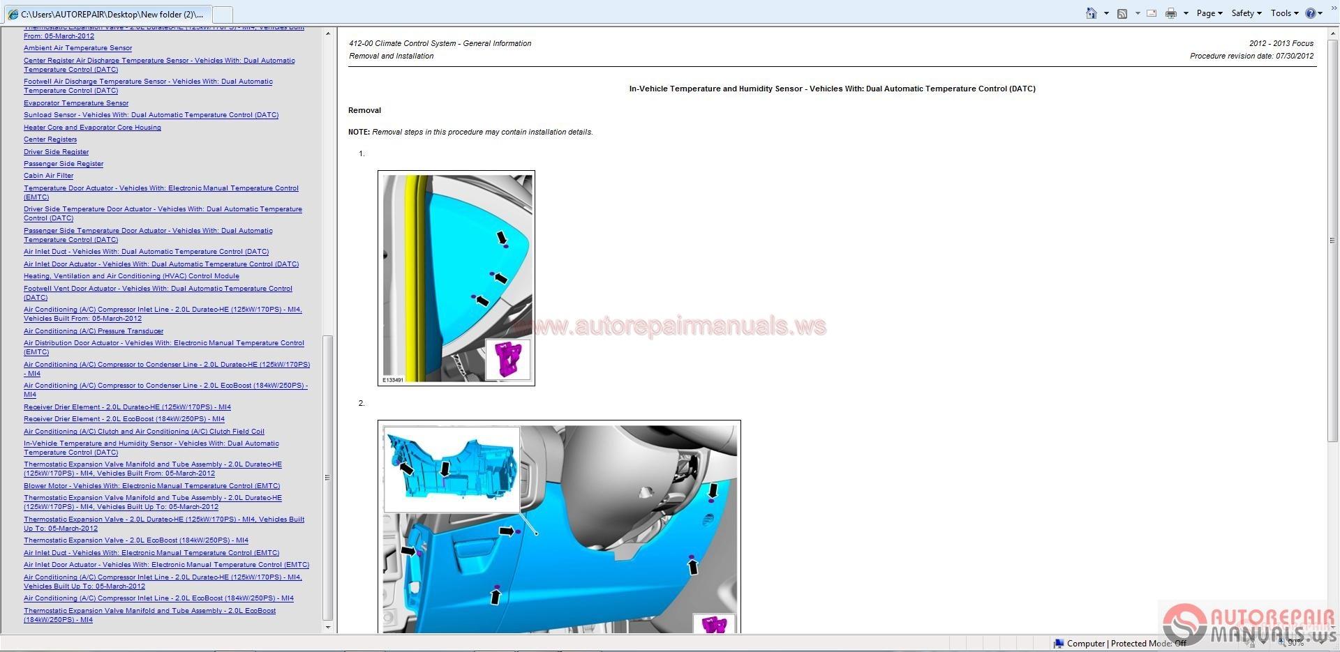 Ford Focus 2012-2013 Workshop Manual